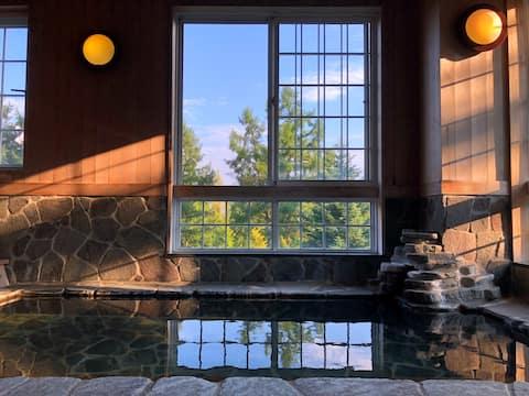 <スキー場至近/天然温泉掛け流し♨>ペットOK✦自然に囲まれた寛ぎのロッジ❄家族やグループ歓迎