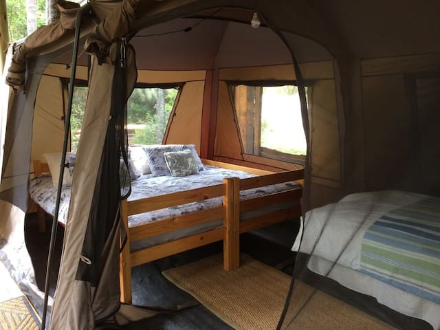 Buchu glamping site with kingsize bed and single bed.