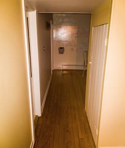 """There is only one very short hallway in the house connecting the front livingroom with the dining room, and ready of the house. This hallway is 37½"""" wide for the entire length."""