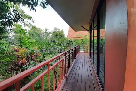The terrace is in front of the door house.
