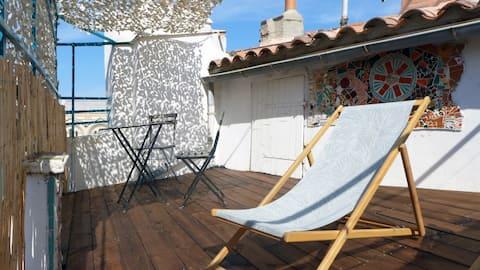 Studio de charme avec terrasse ensoleillée