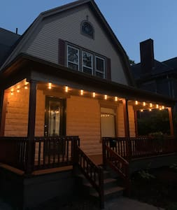 Porch will be well lit with string lights - keypad also illuminates for easy access to unlock front door.