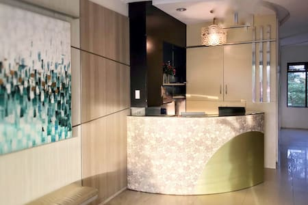 The reception area where we welcome you and or by the front desk officer as you arrive in the building.