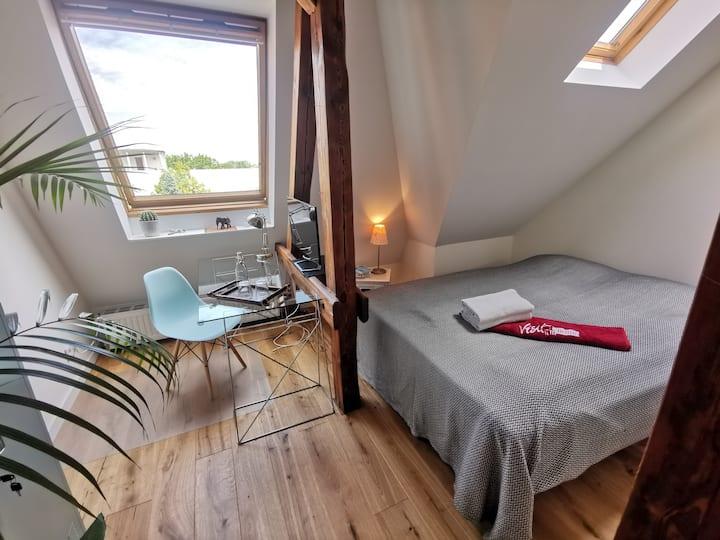 Room in spacious apartment loft, close to centre
