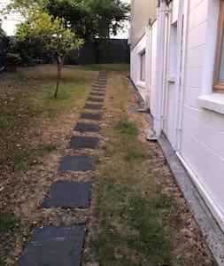 Paving steps with slight decline