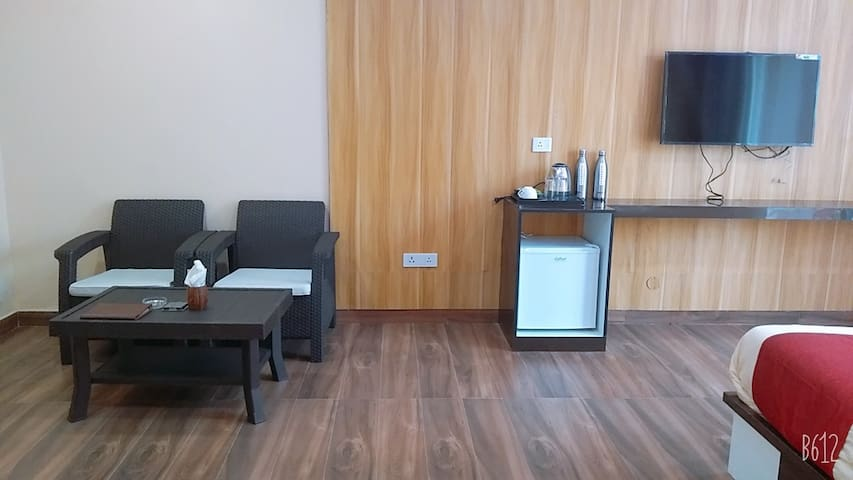 sufficient  space  in the room and Mini refrigerator  is provided in the room, Electric kettle alongwith  Hot and cold water is also provided in the hotel.