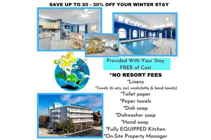 90 STEPS to Ocean>Indoor Pool>Full Kitchen>RokuTV