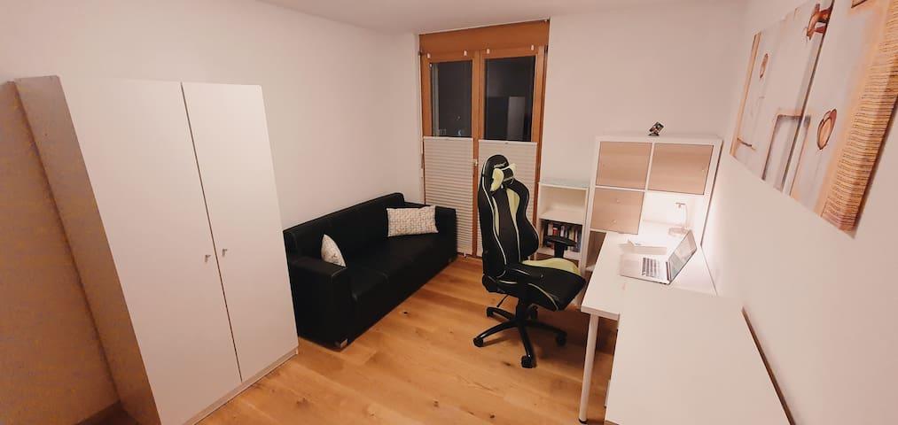 Schlafzimmer 2 / Büro. Die Schlafcouch ist 1.40 x 2.00 m und kann ebenfalls genutzt werden. Von hier aus hast du Aussicht auf das Rheintal.