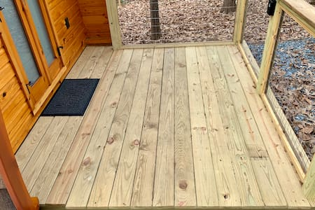 Small slight step up onto deck and patio area is manageable.