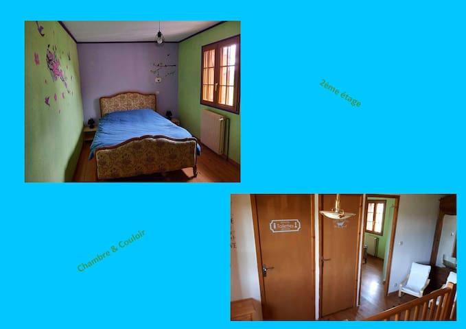Chambre lit double et couloir 2ème étage