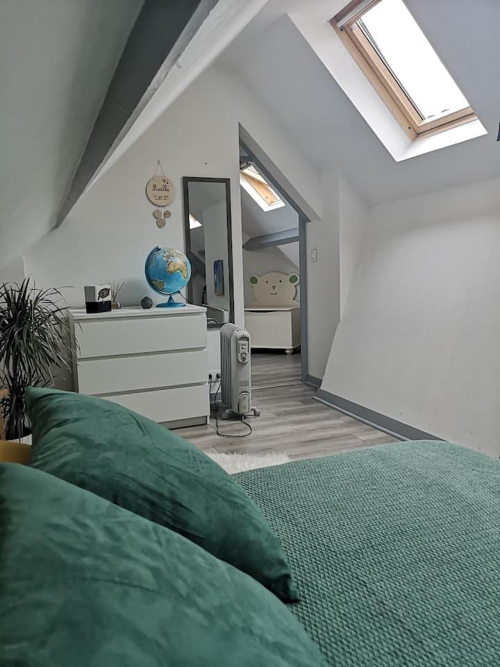 Centre: Étage Privé 37m2 ds Duplex sdb + wc privés