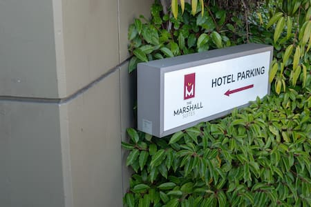From our well lit parking garage, access to the lobby/guestrooms is by elevator.  No Stairs are required.