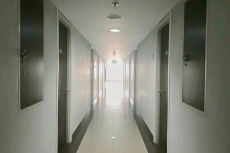 The hallway to the studio