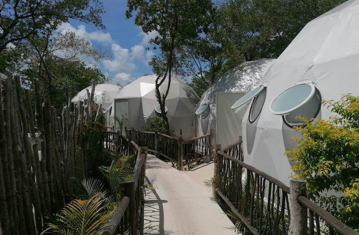 Geodesic Domes across from the Beach