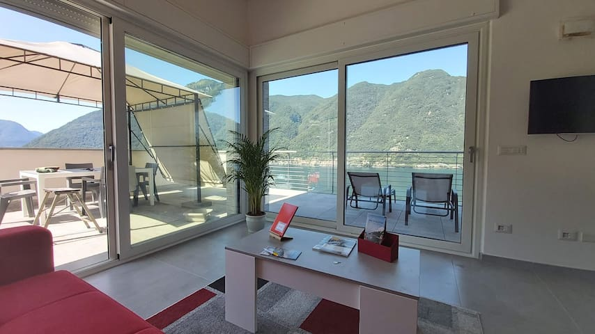 Oleandra rossa stunning view  with large  terrace