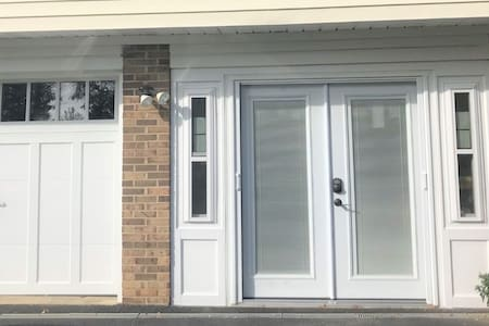 The private French door entrance is flat.