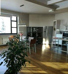 на первом этаже кухня совмещённая с гостиной, достаточно большая площадь, из неё есть вход в комнату, где стоит кровать двуспальная ,свой санузел и гардероб