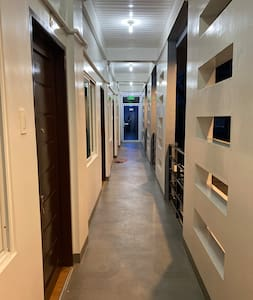 Well- illuminated hallway helps guests navigate clearly during night time.
