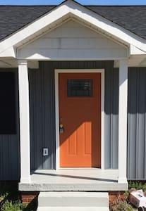 36 inch front door. 3 steps.
