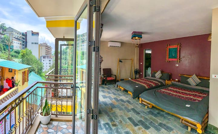 Family Private Room with balcony and City View