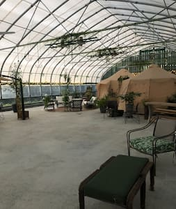 Greenhouse, wide open space.
