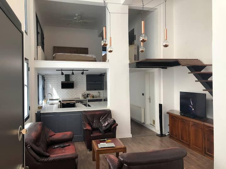 Müstakil ev tadında, keyifli bir loft daire