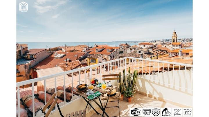 Panoramic Sea View over Old Town - Terrace & AC