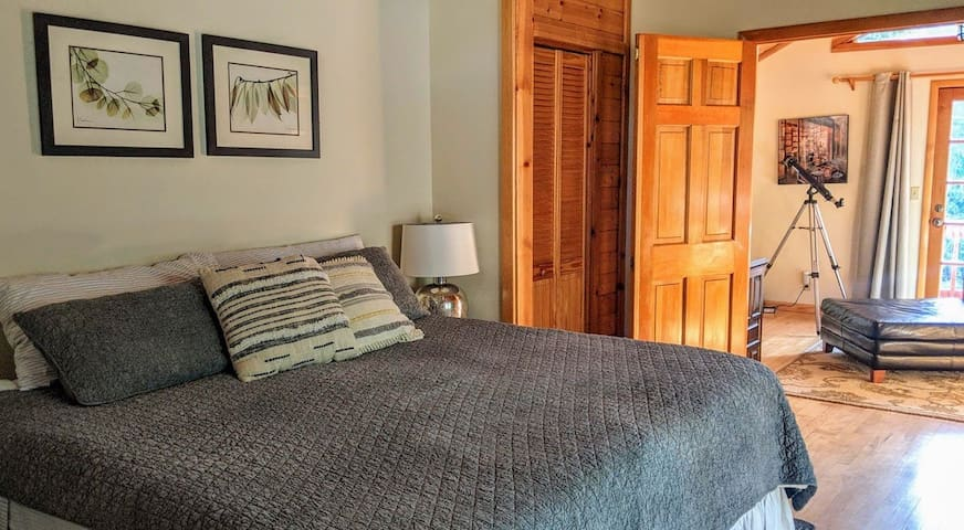 Master bedroom with king bed and loft library await!