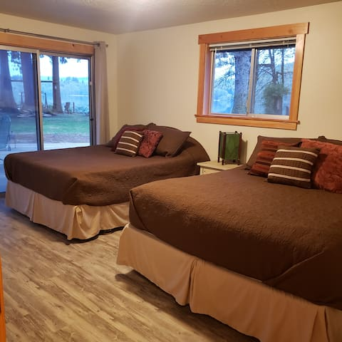 Guest bedroom in the St. Helens House has magnificent views as well