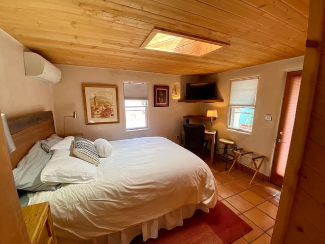 Bedroom with queen size bed, closet, small tv, skylight, and mini-split air unit