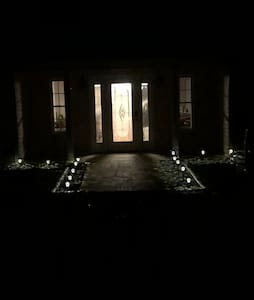 Entrance to Serene Cottage at night