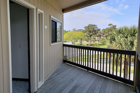 take the handicapped ramp to elevator conveniently located parallel to our end unit condo. You will find dolly carts located under stairwell just to the right of the elevator for easy carry of your luggage and supplies