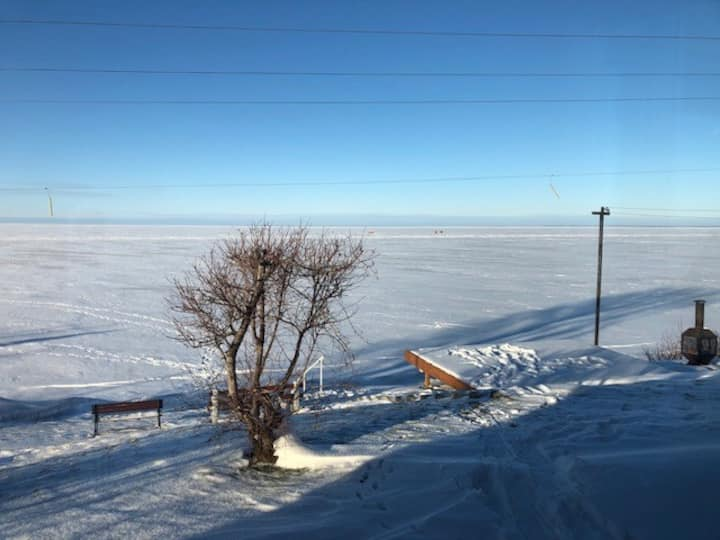 Snowmobiling paradise.  Shores of Lac St Jean...