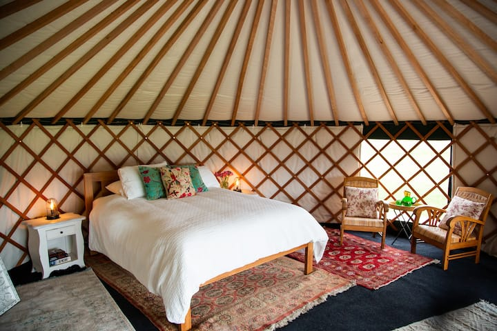 Beautiful Yurts, slow cooked BBQ food, French Farm