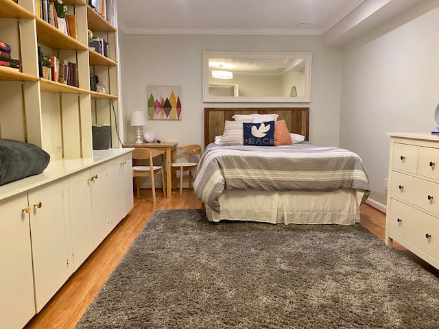 Treat yourself: Your master queen suite awaits with space available in the walk-in closet and direct access to the bathroom.