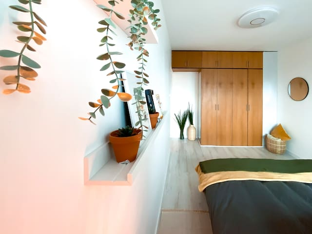 Comfortable and quiet sleeping area, with a remote-control dimming light, and fully blackout curtains.
