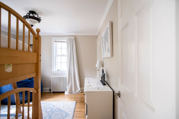 Front bedroom overlooks the street. Twin bunks (rails are available for upper and lower bunks).
