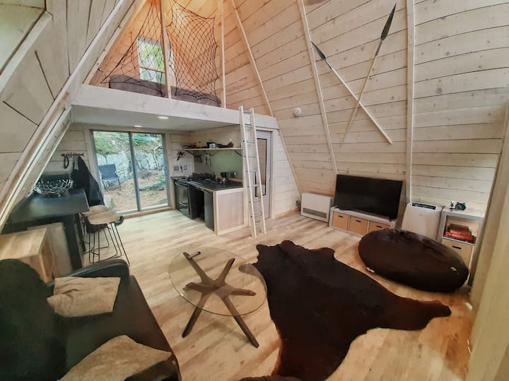 Minimalist A-FRAME cabin by the bay, with kayak.