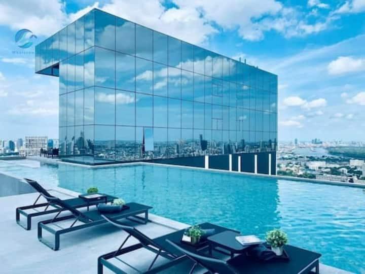 K1】Sathon Pool&Gym&Free Parking&MahaNakhon view