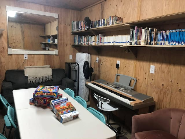 This is our bunkhouse/gameroom. It is a really neat space to hangout and offers us the ability to add three more beds to our guests (as well as access to a children's mattress).