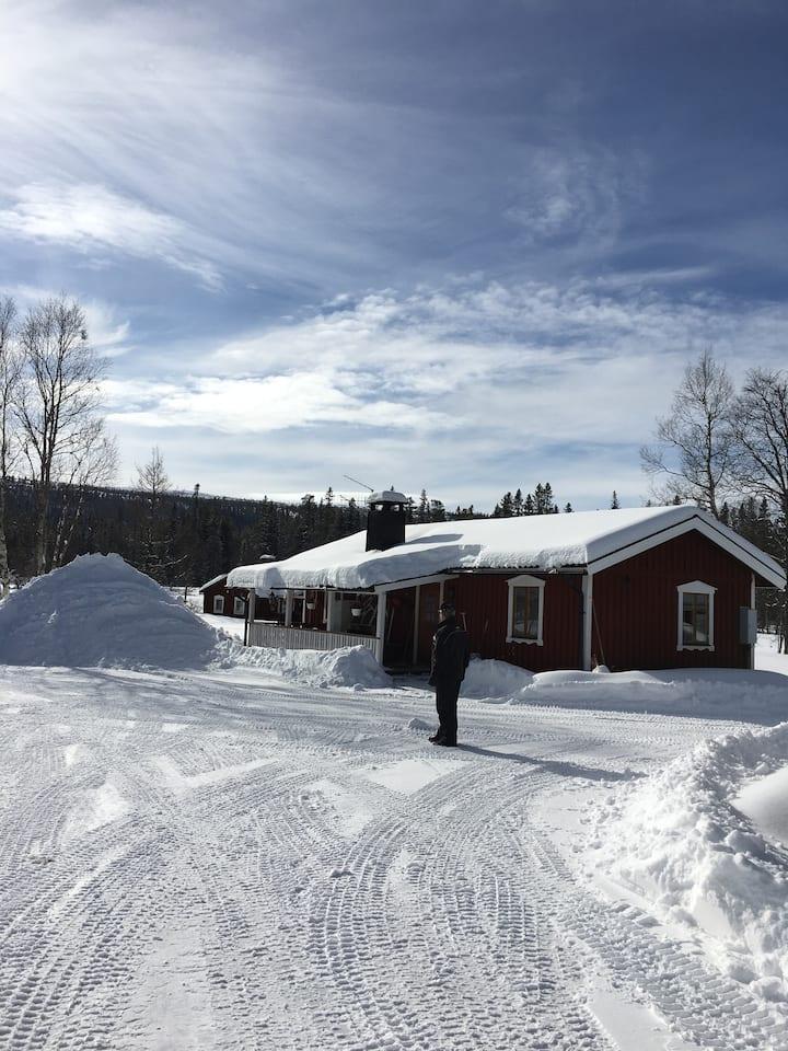 Fritidshus vid Fulufjällets nationalpark.