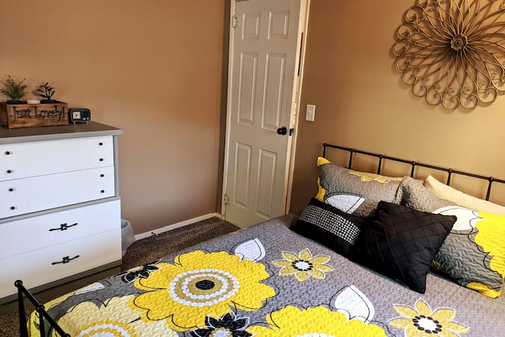 Bedroom #1 has a handmade mattress from Beds By Design with coils and a memory foam top, perfect for a good night's sleep.