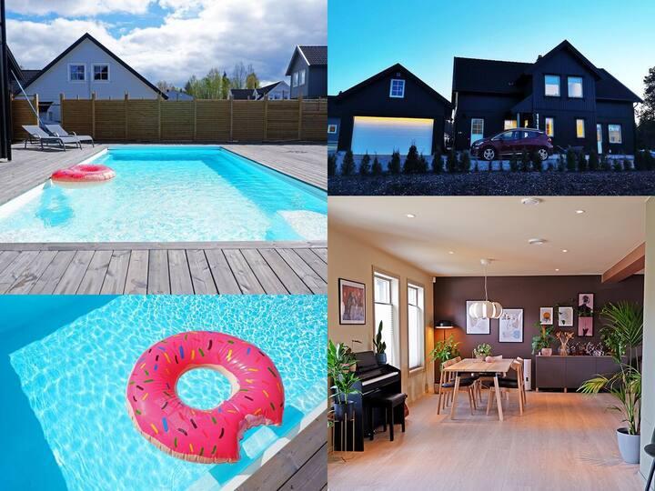 Summer getaway in Ås / heated pool / large garden