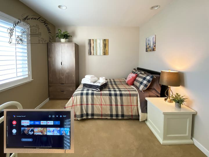 Cosy, Quiet, bedroom with smart TV,30 days