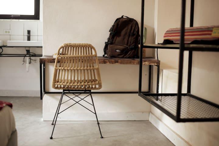 Inside the loft: rustic mahogany desk