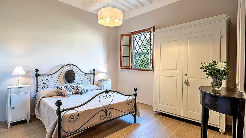 The bedroom on the ground floor. The unique one which miss the air condition and the en suite bathroom. However there is a bathroom just next to this room which is ideal also for disabled person. Also you no need Air Condition, here the air is fresh