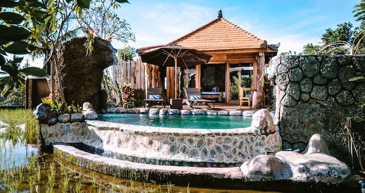 1BR Bali Villa w/ Pool Surrounded By Rice Field