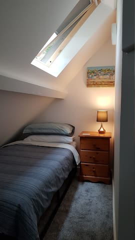 Our tiny but perfect eaves bedroom, bed is a 3ft single bed.