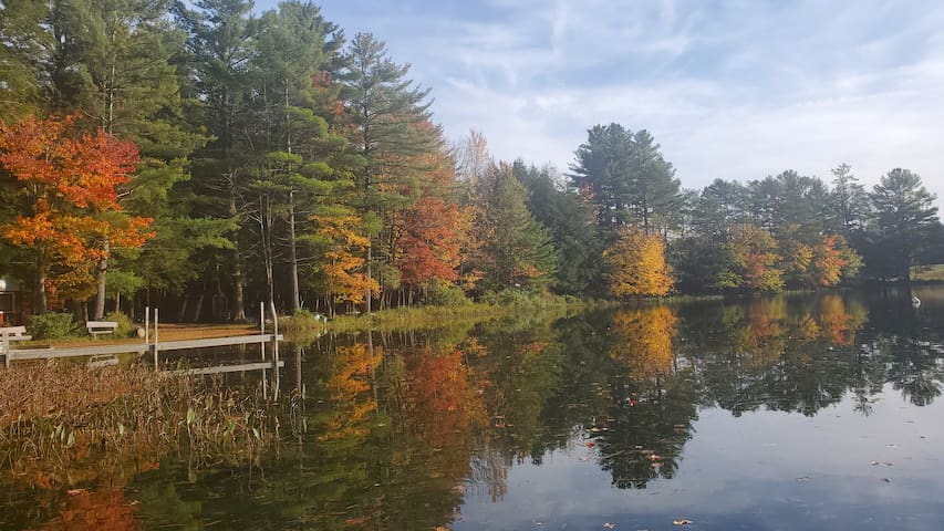 Rustic Lake-Front Cabin-Gorgeous ADK Leaves