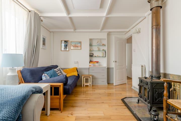 Living room with wood burner